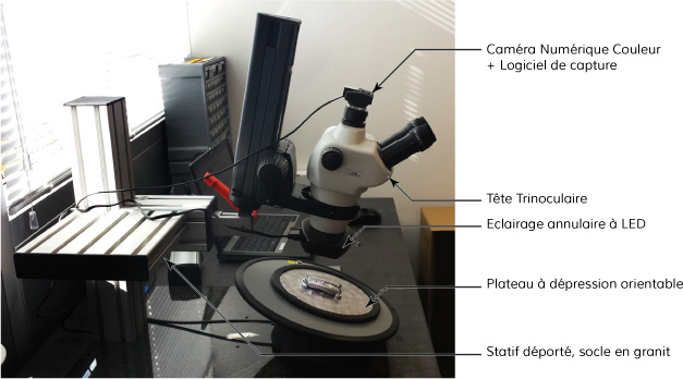 A complete solution example: Digital color camera + stereo-microscope + Lighting LED ring + granite stand + adjustable vacuum table